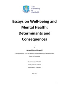 essays on well being and mental health determinants and