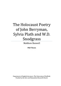 The Holocaust Poetry of John Berryman, Sylvia Plath and W.D. ...